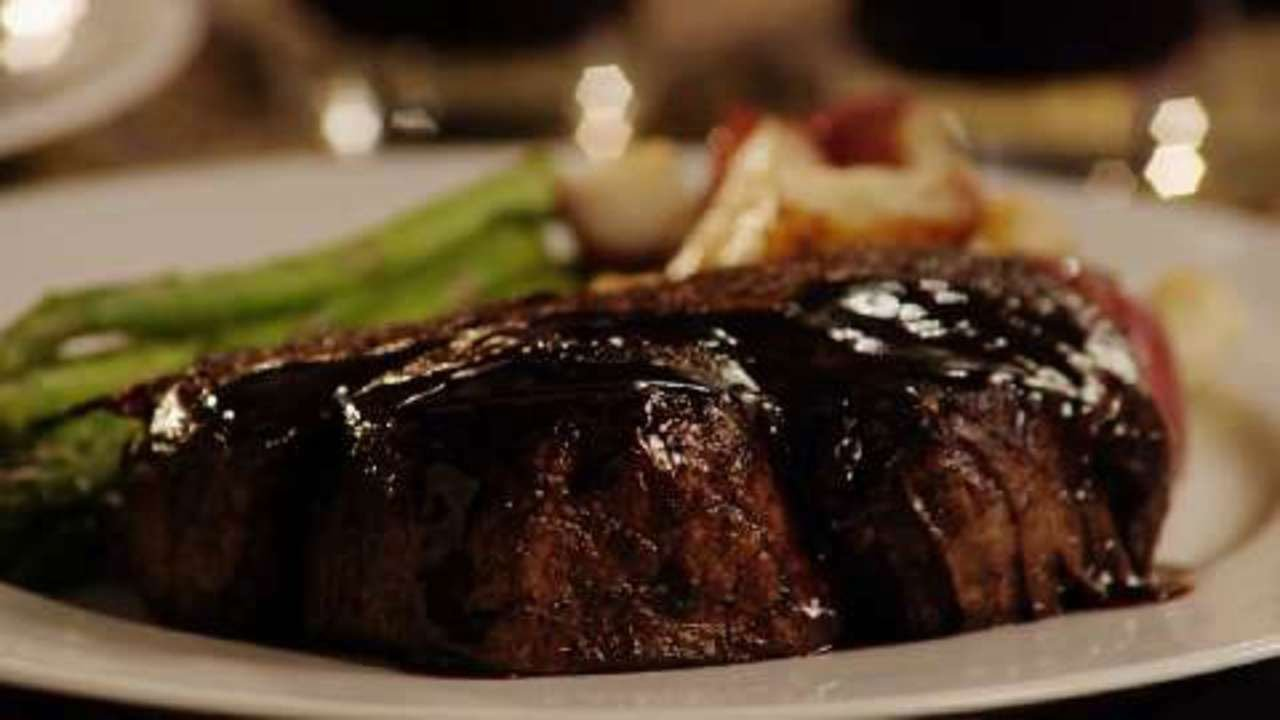 Grass fed filet mignon steak with a balsamic glaze, Asparagus and potatoes